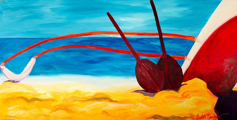 Hawaii Canoe Painting - Kaetis Canoe by Beth Cooper