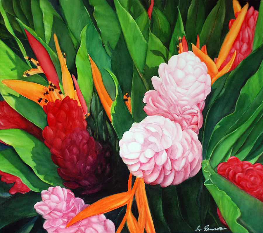 Floral Paintings Painting - Kailua Farmers Market by Luane Penarosa