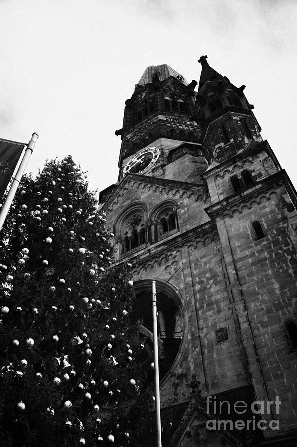 Kaiser Wilhelm Gedachtniskirche Memorial Church And Christmas Tree Berlin Germany Photograph  - Kaiser Wilhelm Gedachtniskirche Memorial Church And Christmas Tree Berlin Germany Fine Art Print