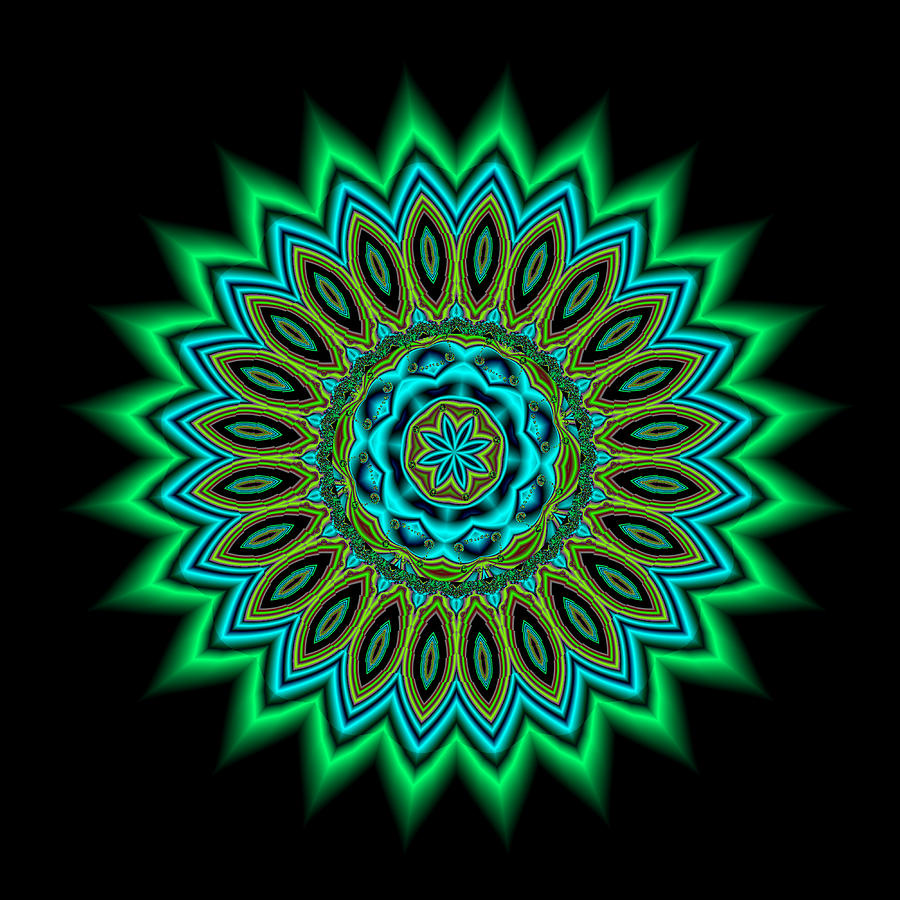 Kaleidoscope 1 Blues And Greens Painting