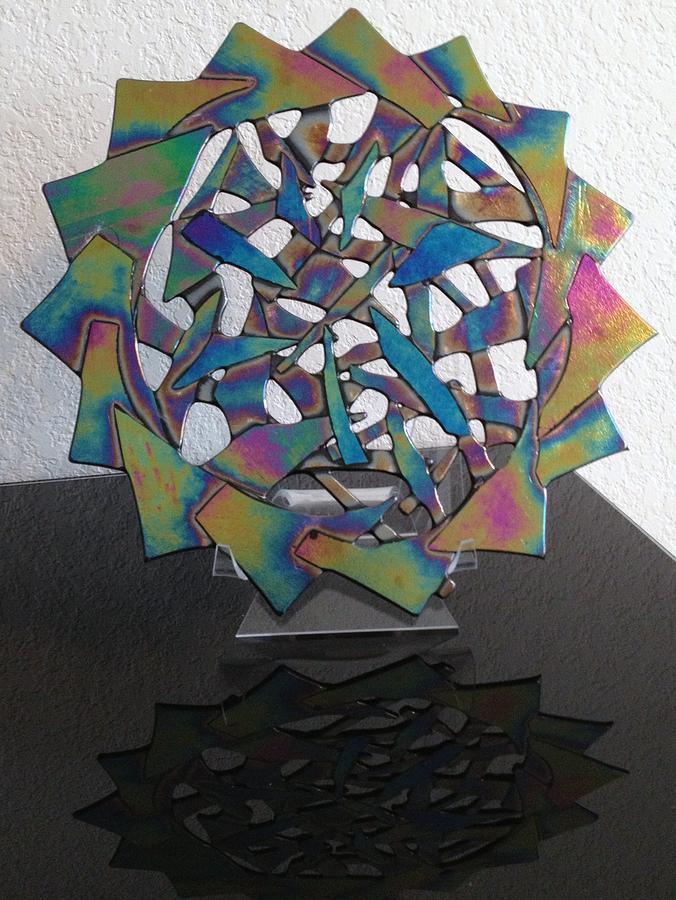 Circle Glass Art - Kaleidoscope by Angela DeAnda