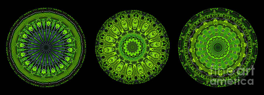 Abstract Digital Art - Kaleidoscope Triptych Of Glowing Circuit Boards by Amy Cicconi