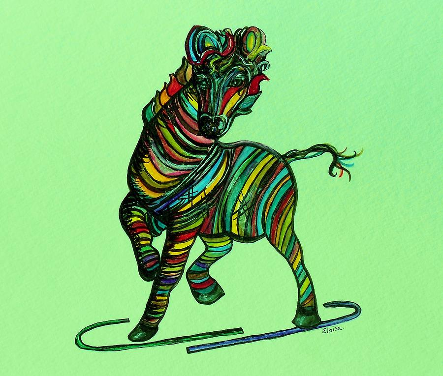 Kaleidoscope Zebra -- Baby Strut Your Stuff On Green Painting