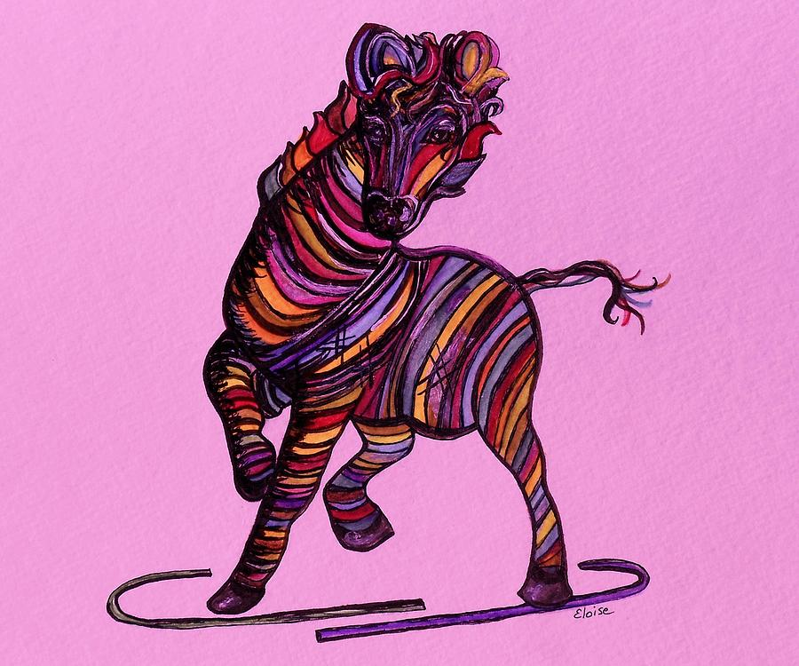 Kaleidoscope Zebra -- Baby Strut Your Stuff On Pink Painting