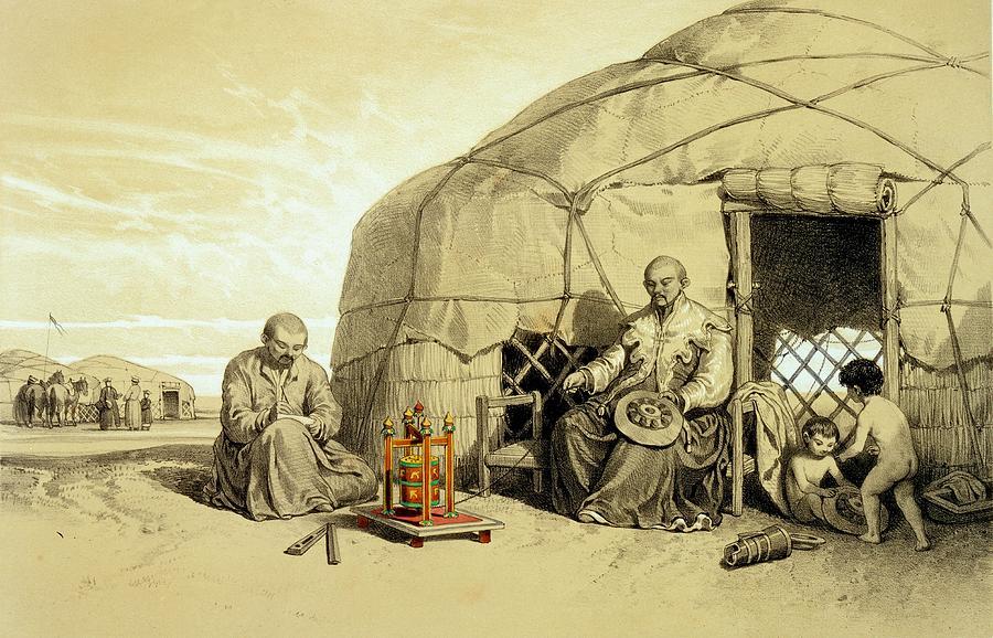 Kalmuk Drawing - Kalmuks With A Prayer Wheel, Siberia by Francois Fortune Antoine Ferogio