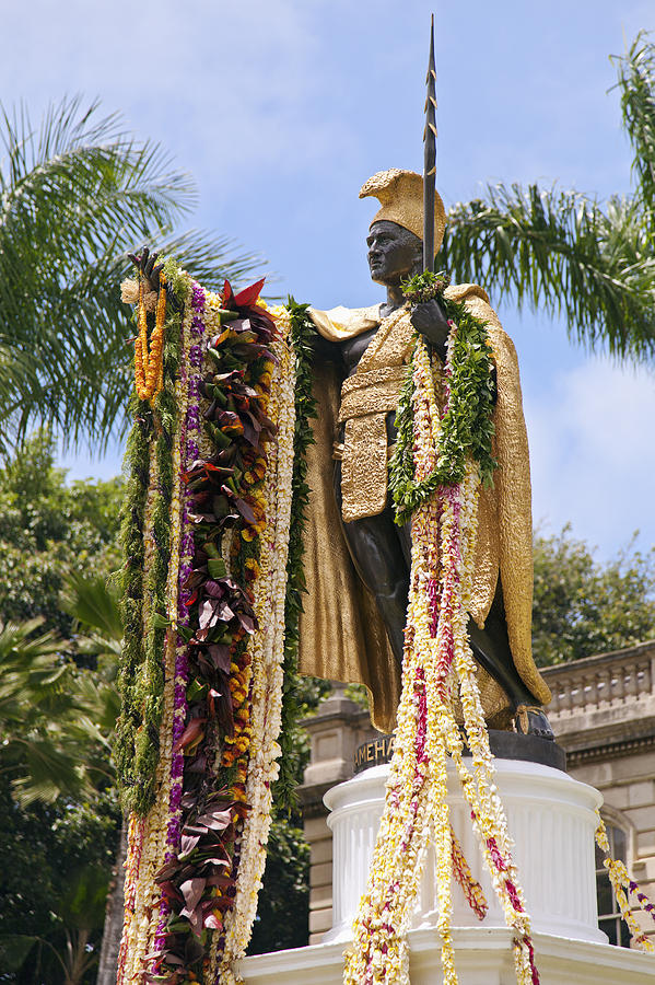 Kamehameha Covered In Leis Photograph