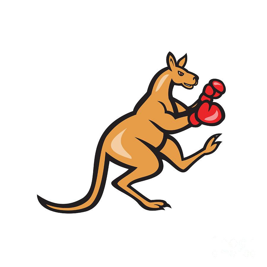 Kangaroo Digital Art - Kangaroo Kick Boxer Boxing Cartoon by Aloysius Patrimonio
