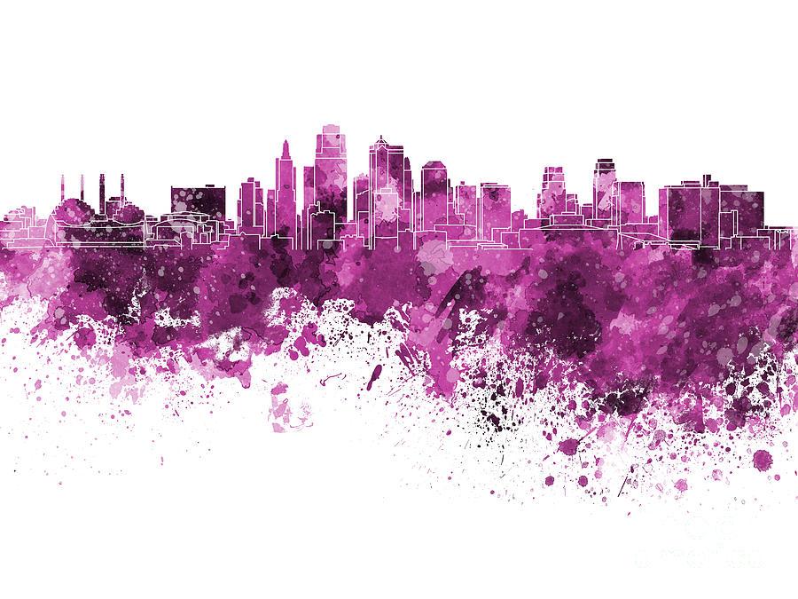 Atlanta Skyline Painting Pink Blue Acrylic