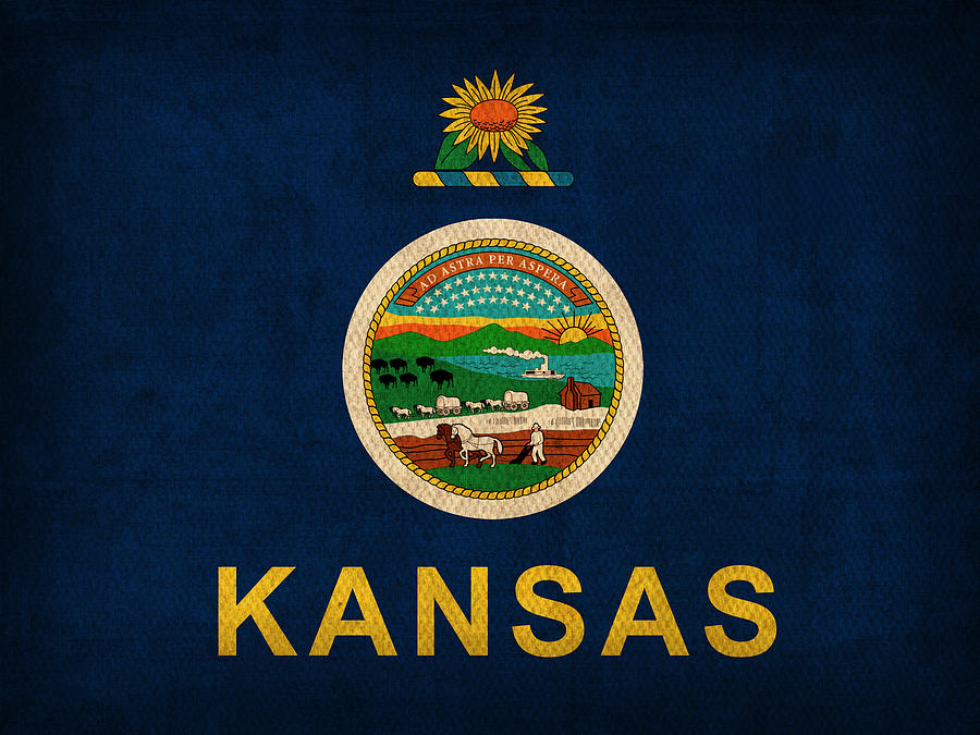 Kansas Mixed Media - Kansas State Flag Art On Worn Canvas by Design ...