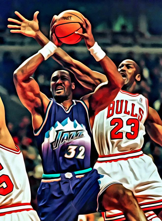 Karl Malone Vs. Michael Jordan Painting