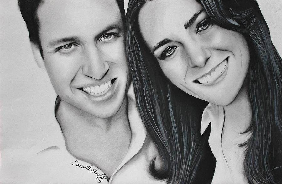 Kate And William Drawing  - Kate And William Fine Art Print