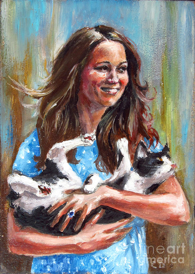 Kate Middleton Duchess Of Cambridge And Her Royal Baby Cat Painting  - Kate Middleton Duchess Of Cambridge And Her Royal Baby Cat Fine Art Print