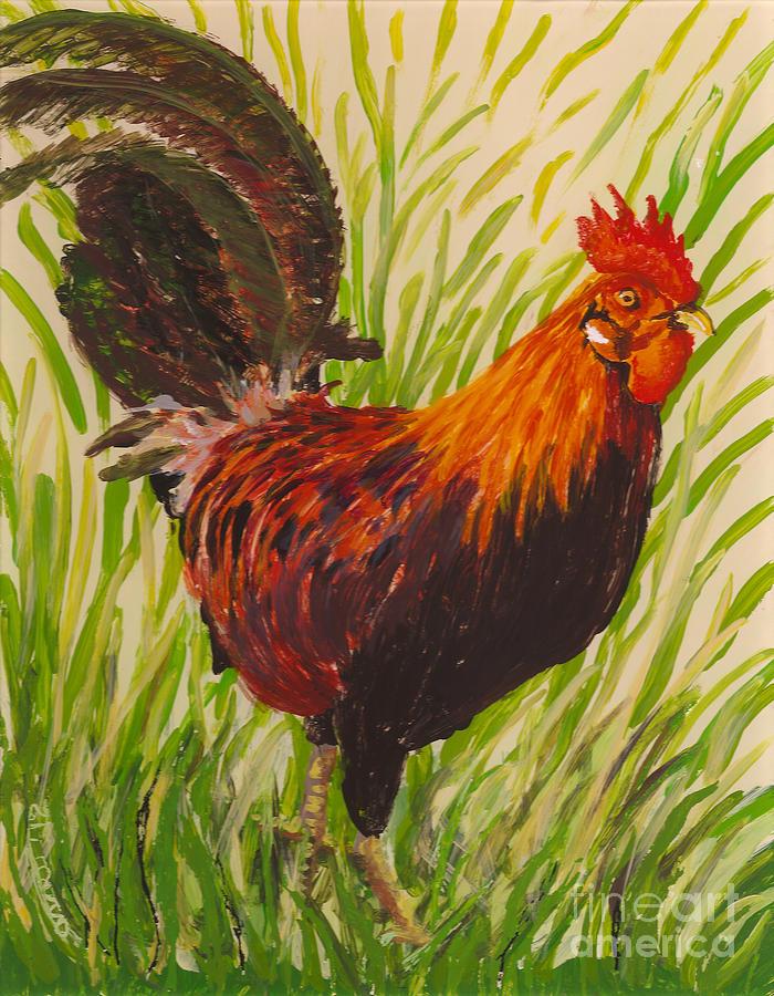 Hawaii Birds Painting - Kauai Rooster by Anna Skaradzinska