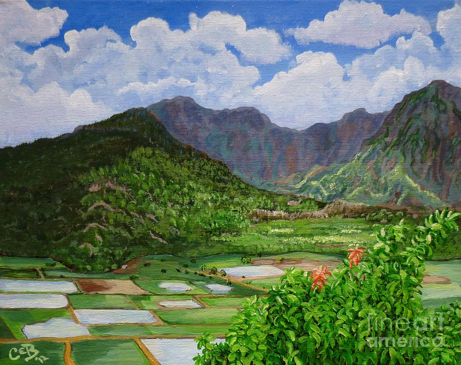 Kauai Taro Fields Painting  - Kauai Taro Fields Fine Art Print