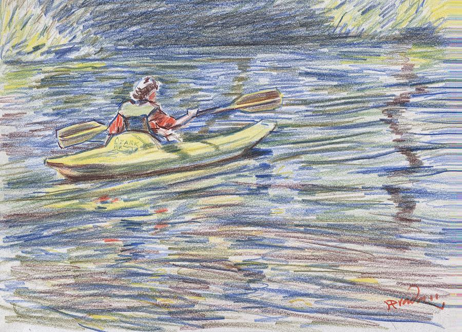 Kayak In The Rapids Drawing