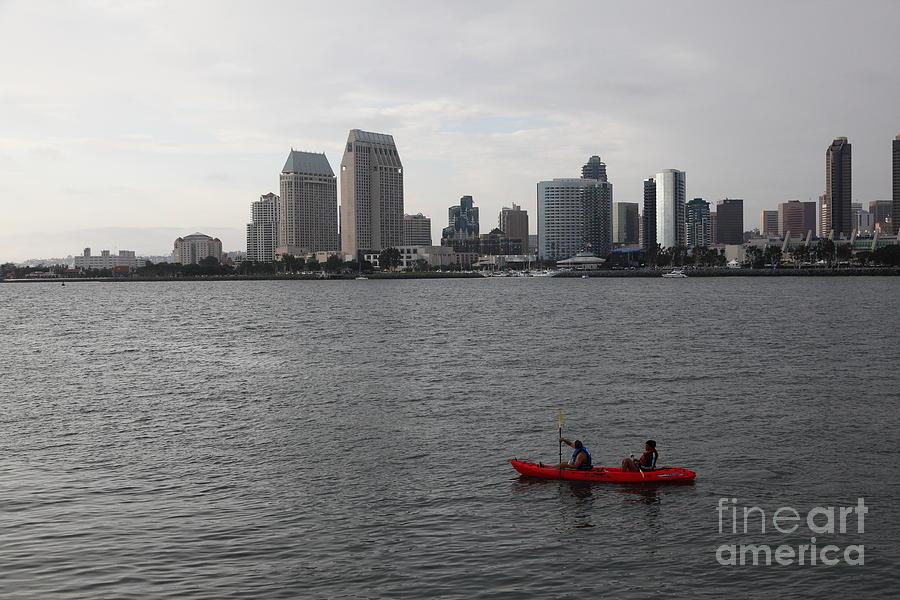 San Diego Photograph - Kayaking Along The San Diego Harbor Overlooking The San Diego Skyline 5d24376 by Wingsdomain Art and Photography