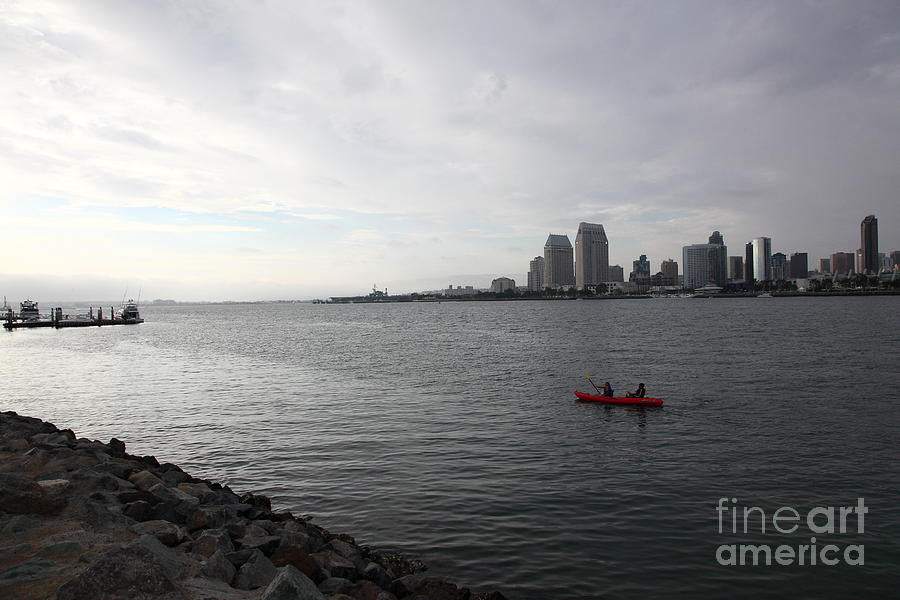 Kayaking Along The San Diego Harbor Overlooking The San Diego Skyline 5d24377 Photograph