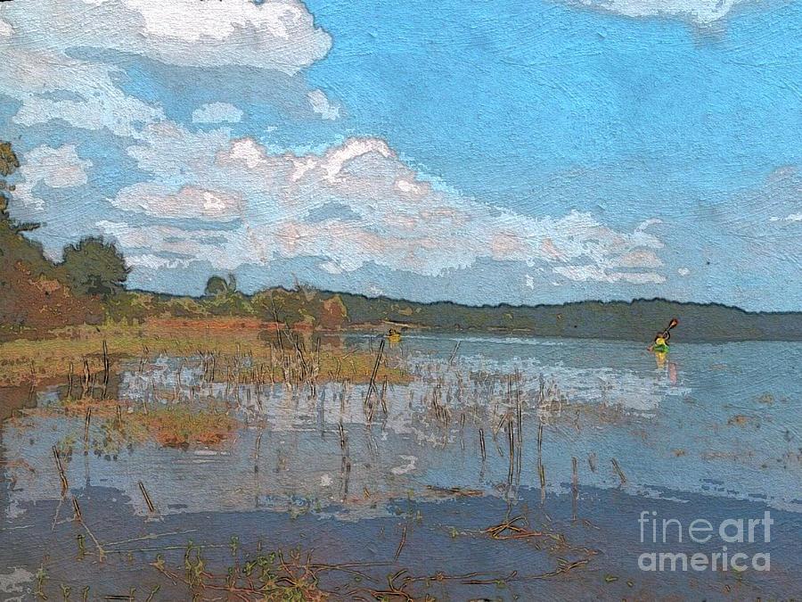 Kayak Photograph - Kayaking At Lake Juliette by Donna Brown