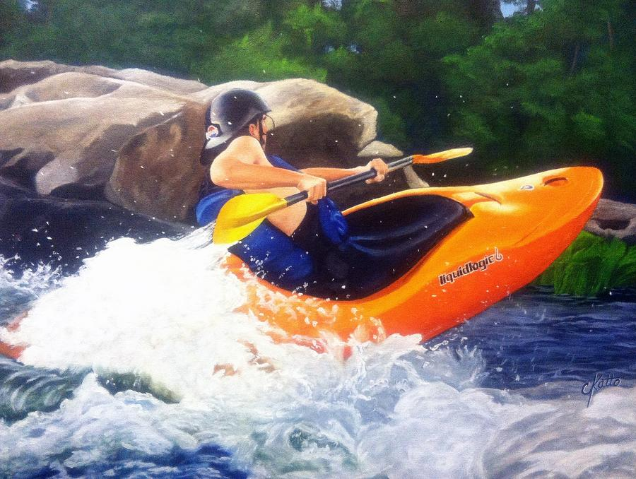Whitewater Kayaker Painting - Kayaking Fun by Cireena Katto