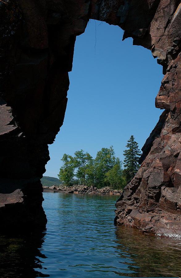 Kayaking Photograph - Kayaking Through The Arch by Sandra Updyke