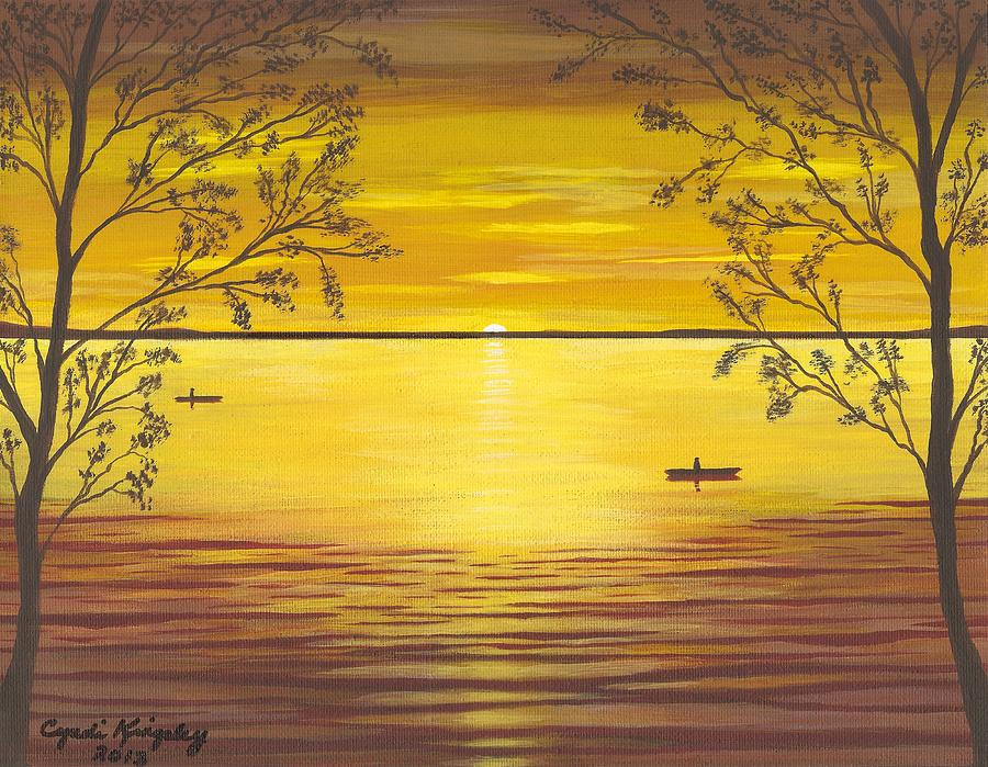 Cyndi Kingsley Art Painting - Kayaks In Golden Sunset by Cyndi Kingsley
