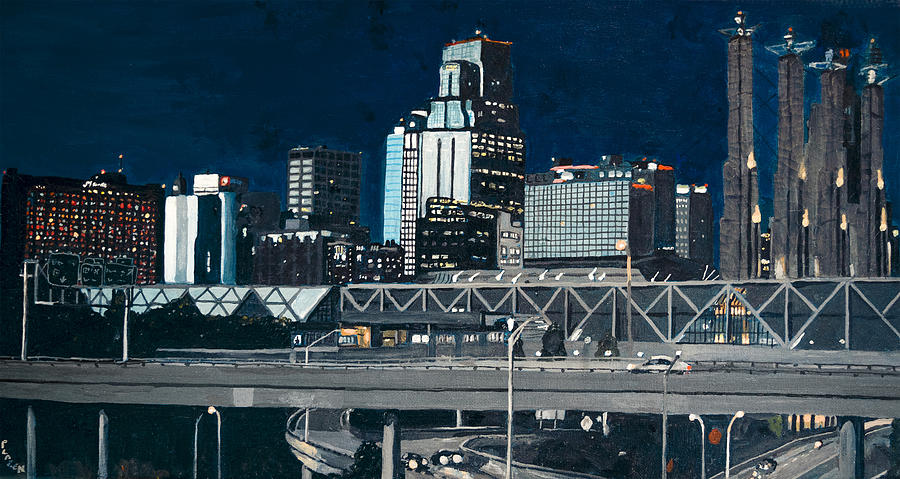 Kansas City Painting - Kc At Dusk by Patricio Lazen
