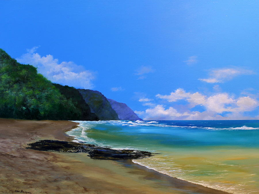 Hawaii Painting - Kee Beach Kauai by Ken Ahlering