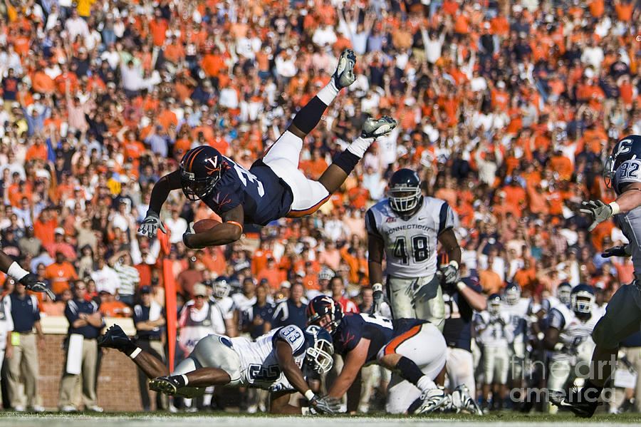 Keith Payne Superman Dive Virginia Cavaliers Football Photograph  - Keith Payne Superman Dive Virginia Cavaliers Football Fine Art Print