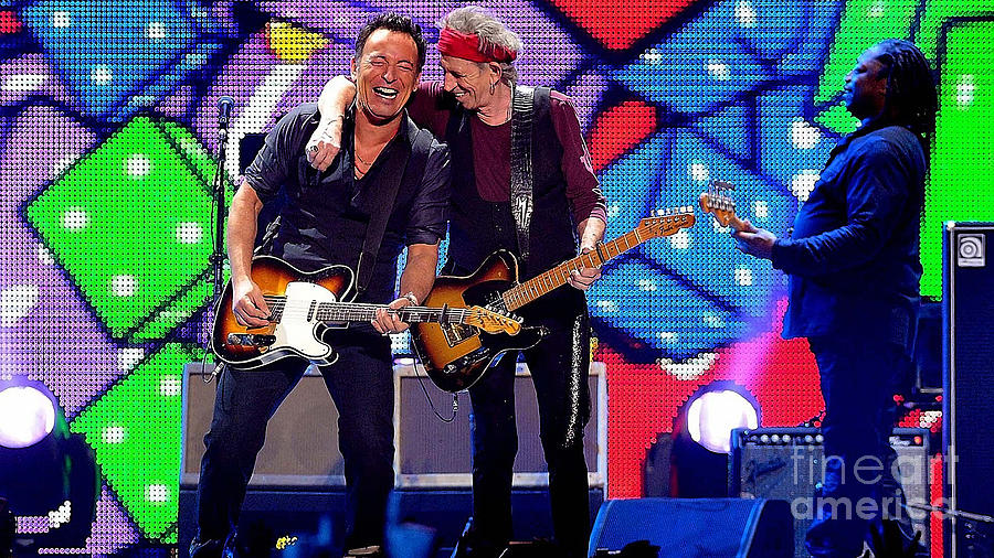 Keith Richards And Bruce Springsteen Mixed Media