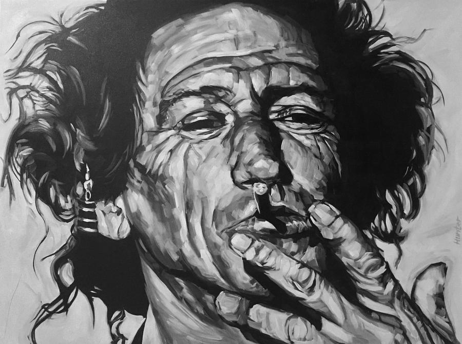Keith Richards Guitarist Musician Rolling Stones Mick Jagger Black And White Canvas Portrait 60's Drawing - Keith Richards by Steve Hunter