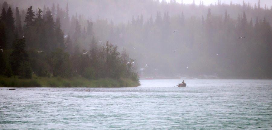 Salmon Fishermen In A Boat On Alaska's Kenai River. Salmon Photograph - Kenai by Ron Day
