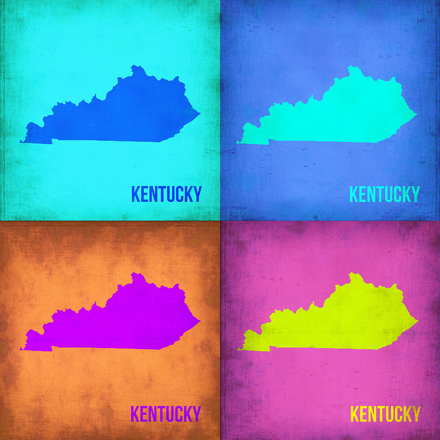 Kentucky Pop Art Map 1 Painting  - Kentucky Pop Art Map 1 Fine Art Print