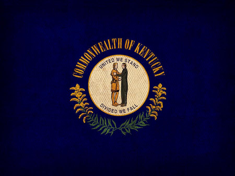 Kentucky Mixed Media - Kentucky State Flag Art On Worn Canvas by Design Turnpike
