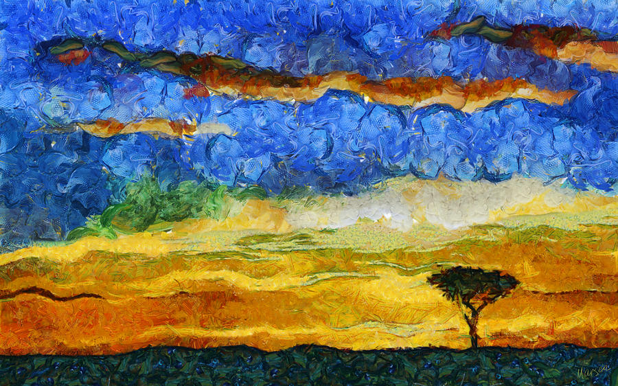 Kenyan Sunrise Painting  - Kenyan Sunrise Fine Art Print