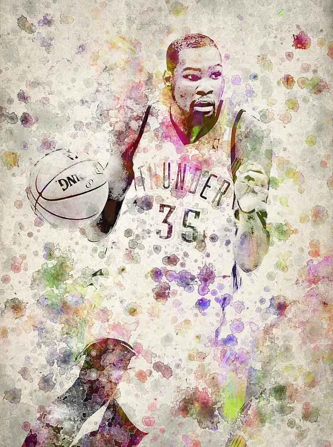 Kevin Durant Drawing - Kevin Durant In Color by Aged Pixel