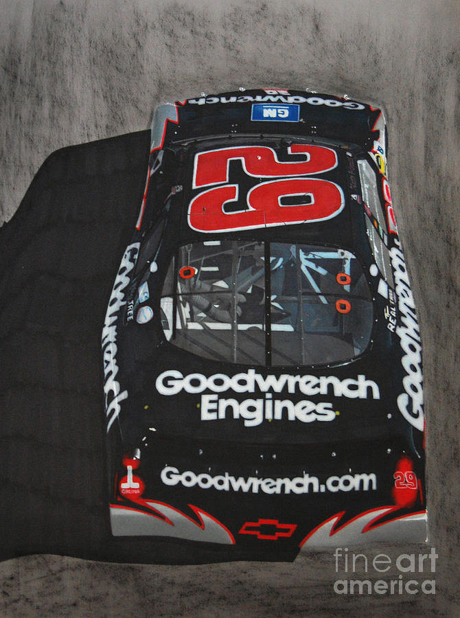 Car Drawing - Kevin Harvick Goodwrench Chevrolet by Paul Kuras