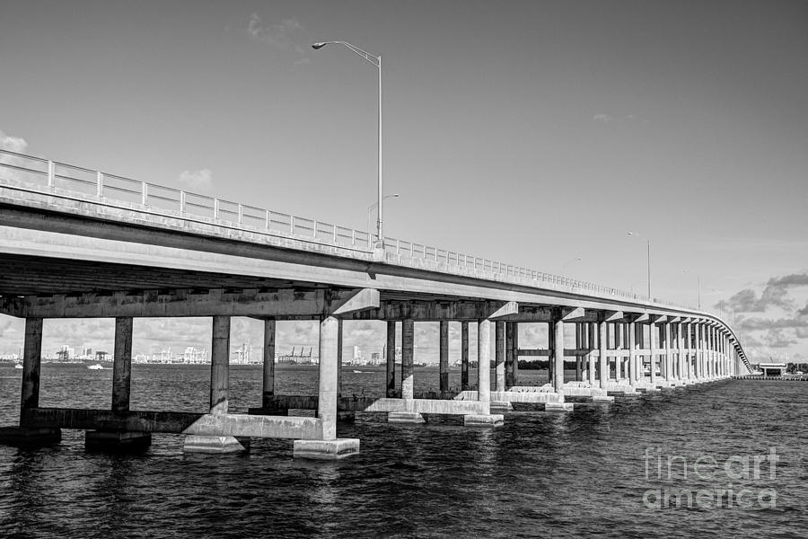 Key Biscayne Bridge Bw Photograph  - Key Biscayne Bridge Bw Fine Art Print
