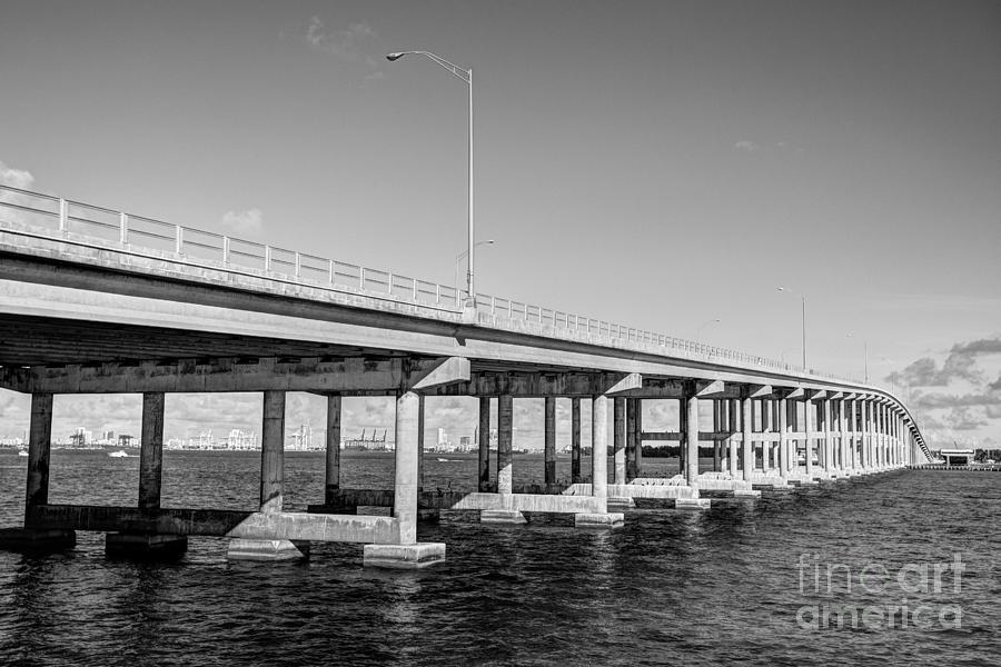 Key Biscayne Bridge Bw Photograph