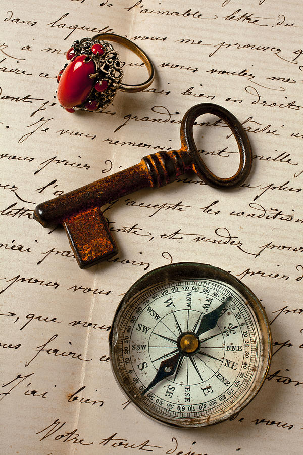 Key Ring And Compass Photograph