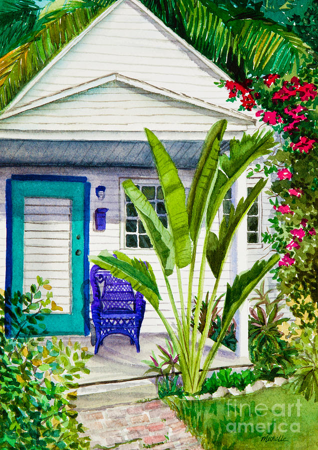 Key West Cottage Watercolor Painting  - Key West Cottage Watercolor Fine Art Print