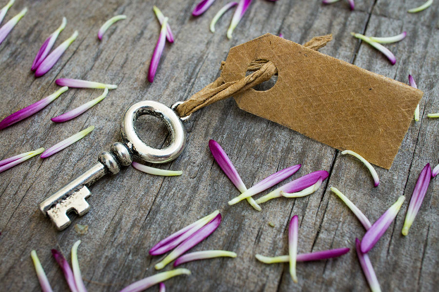 Key Photograph - Key With A Label by Aged Pixel