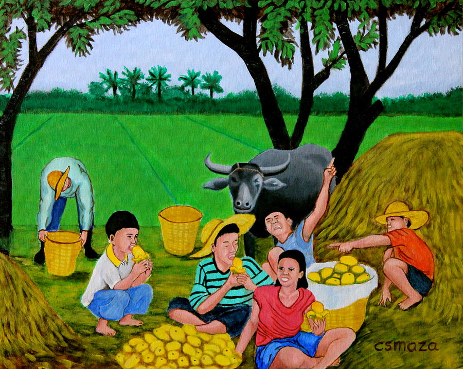 Kids Eating Mangoes Painting  - Kids Eating Mangoes Fine Art Print