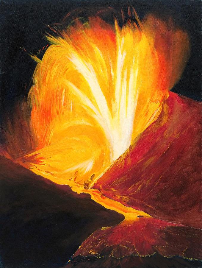 Kilauea Volcano In Hawaii Painting