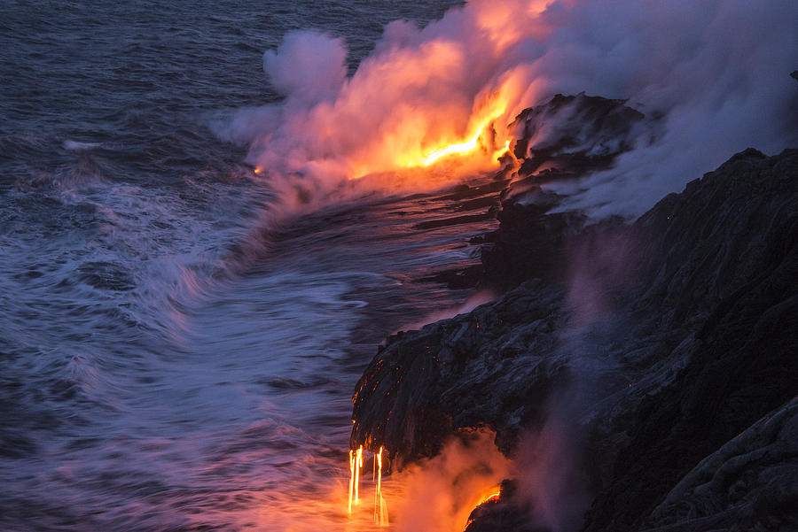 Kilauea Volcano Lava Flow Sea Entry 4 - The Big Island Hawaii Photograph