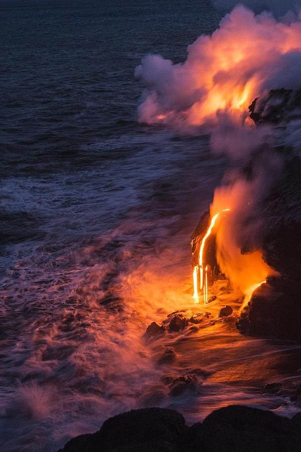 Kilauea Volcano Lava Flow Sea Entry 6 - The Big Island Hawaii Photograph