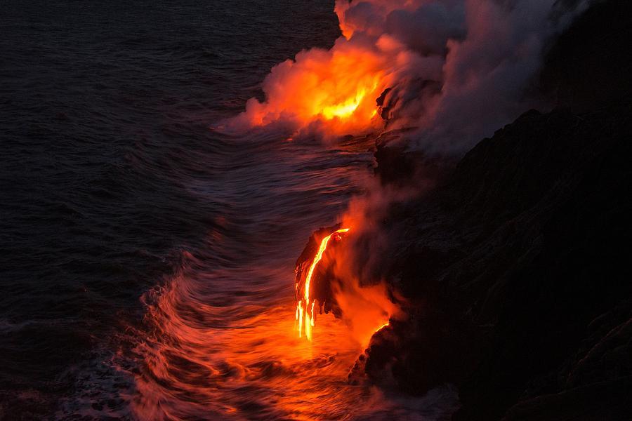 Kilauea Volcano Kalapana Lava Flow Sea Entry The Big Island Hawaii Hi Photograph - Kilauea Volcano Lava Flow Sea Entry - The Big Island Hawaii by Brian Harig