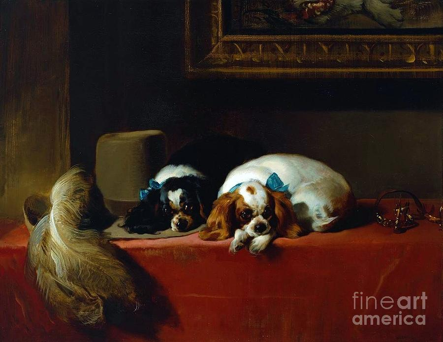 Pd Painting - King Charles Spaniels by Pg Reproductions