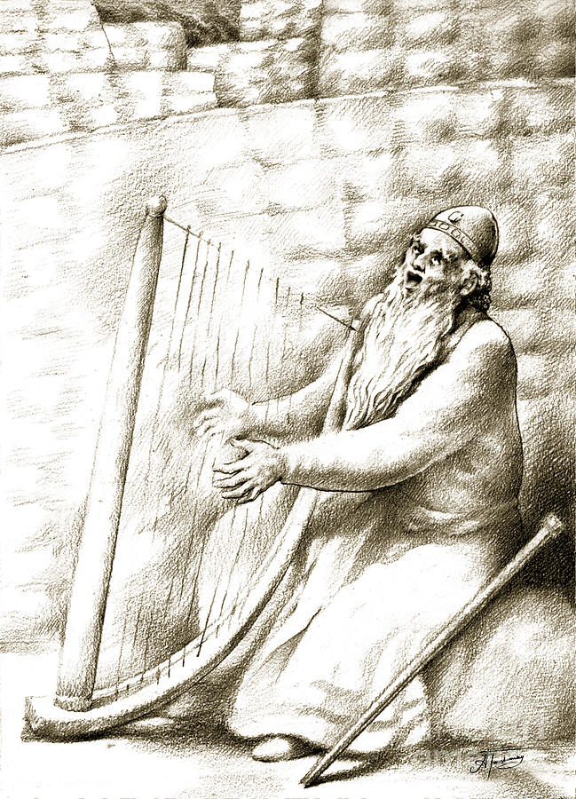 King David Drawing - King David by Alex Tavshunsky