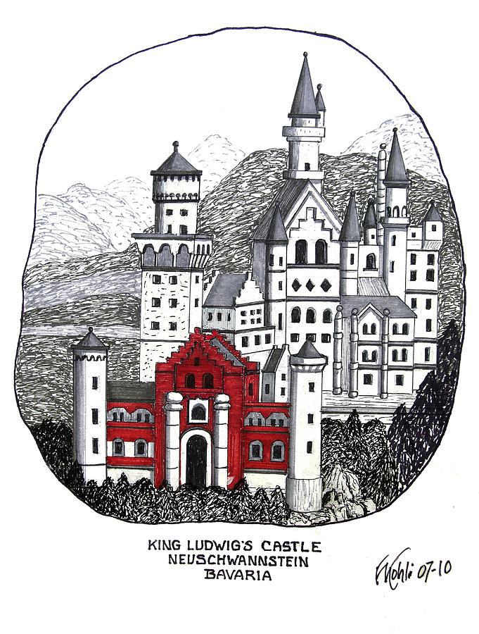 King Ludwigs Castle  Drawing  - King Ludwigs Castle  Fine Art Print