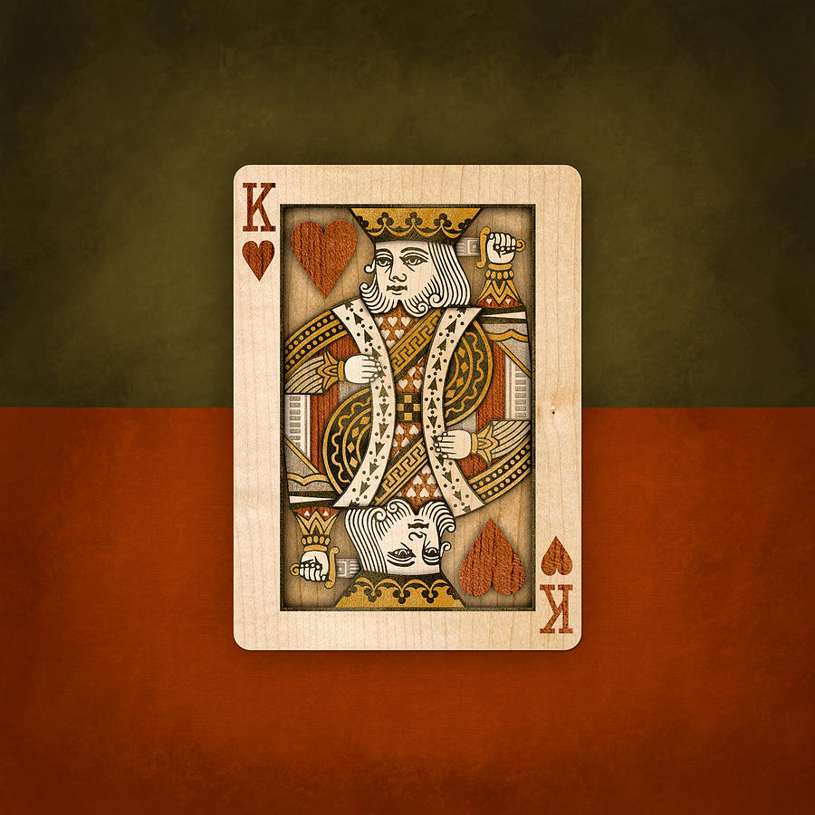 King Of Hearts In Wood Photograph